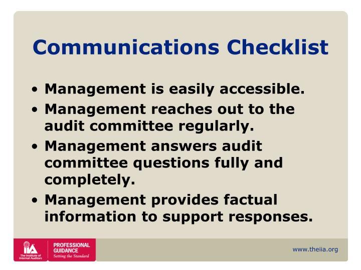 Communications Checklist