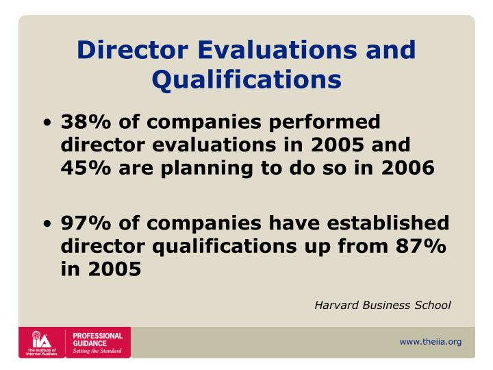Director Evaluations and Qualifications