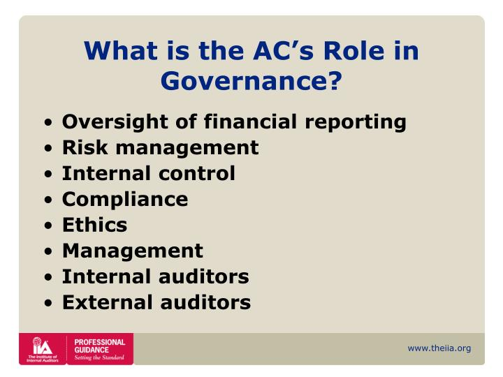 What is the AC's Role in Governance?