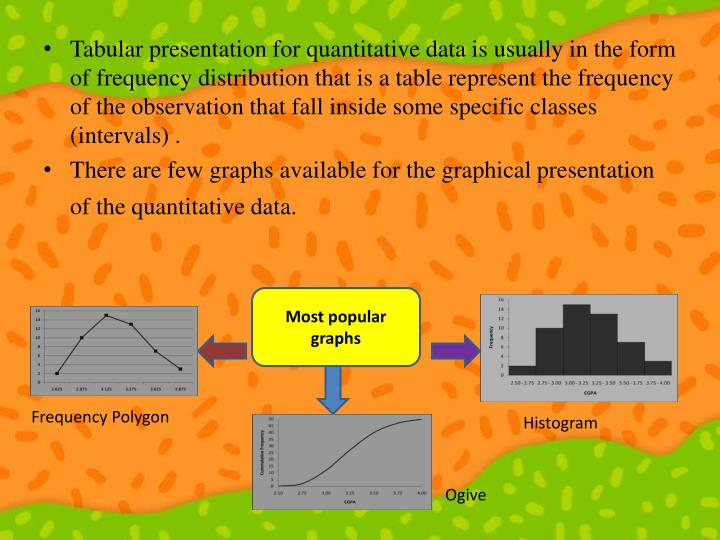 Tabular presentation for quantitative data is usually in the form of frequency distribution that is a table represent the frequency of the observation that fall inside some specific classes (intervals) .