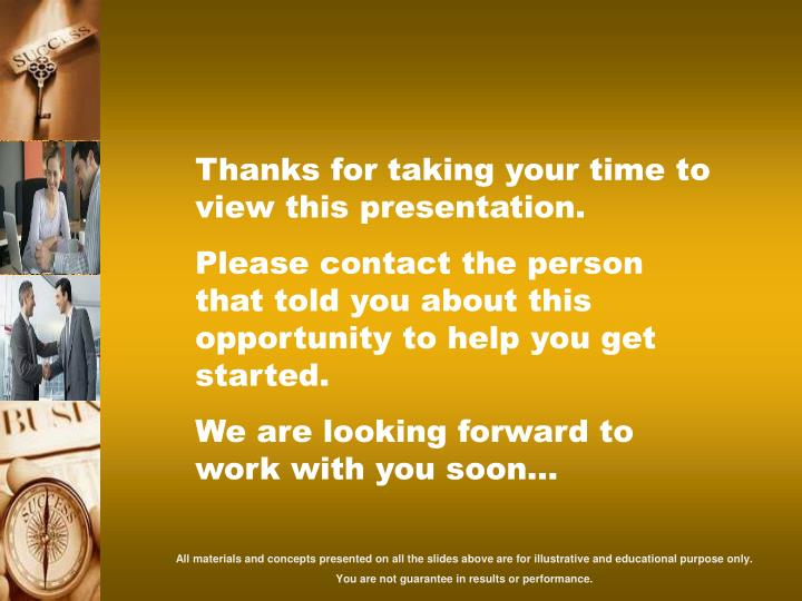 Thanks for taking your time to view this presentation.