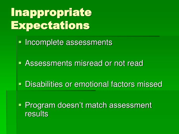 Inappropriate Expectations