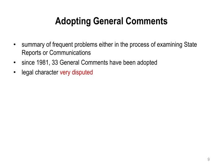 Adopting General Comments