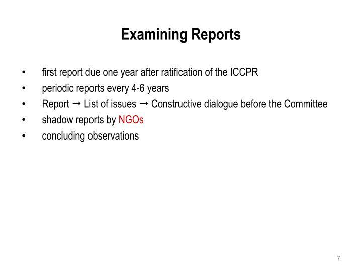 Examining Reports