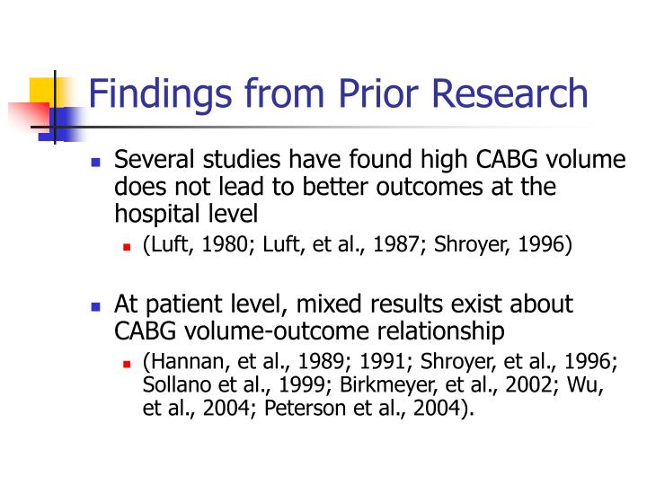 Findings from Prior Research
