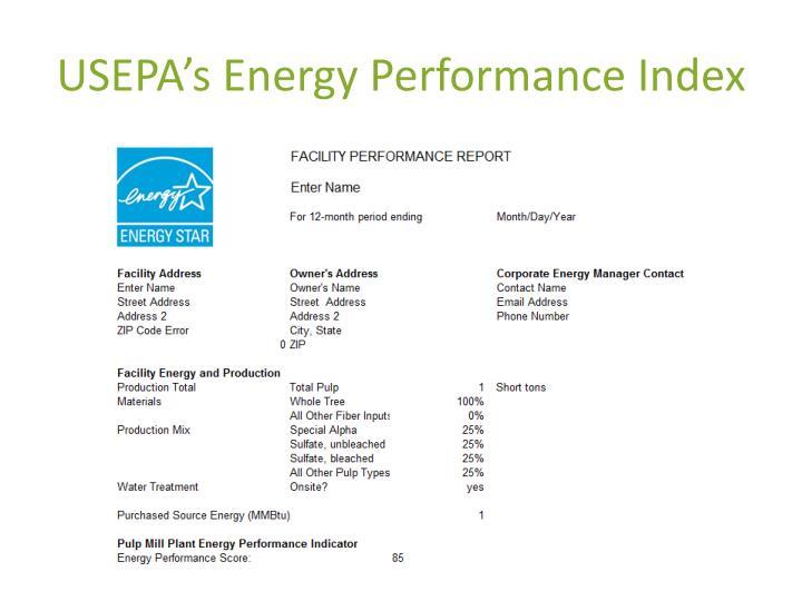 USEPA's Energy Performance Index