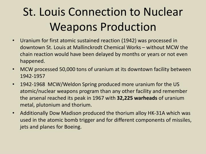 St. Louis Connection to Nuclear Weapons Production