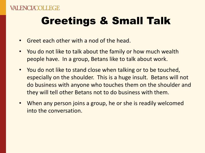 Greetings small talk