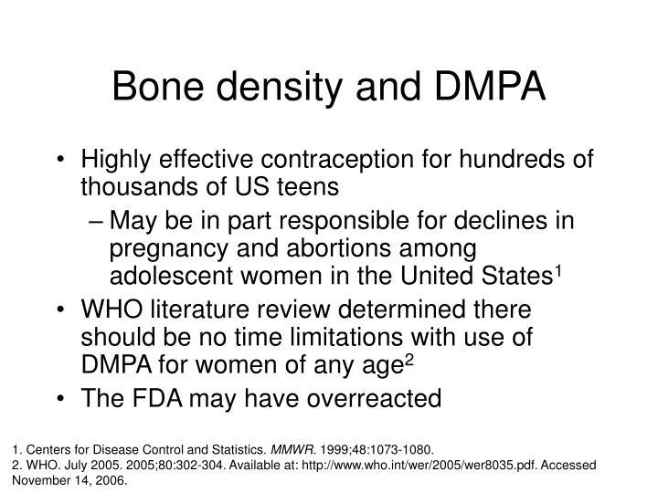 Bone density and DMPA