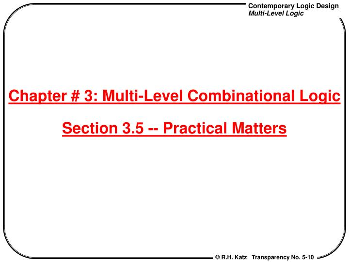 Chapter # 3: Multi-Level Combinational Logic