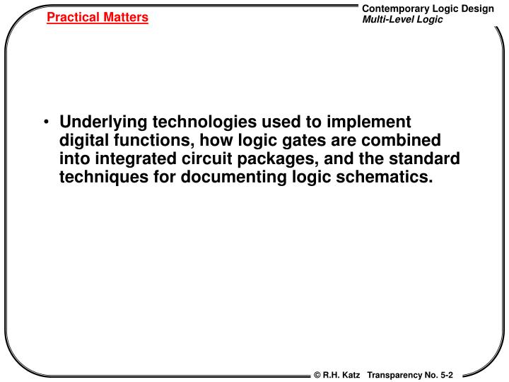 Underlying technologies used to implement digital functions, how logic gates are combined into integrated circuit packages, and the standard techniques for documenting logic schematics.