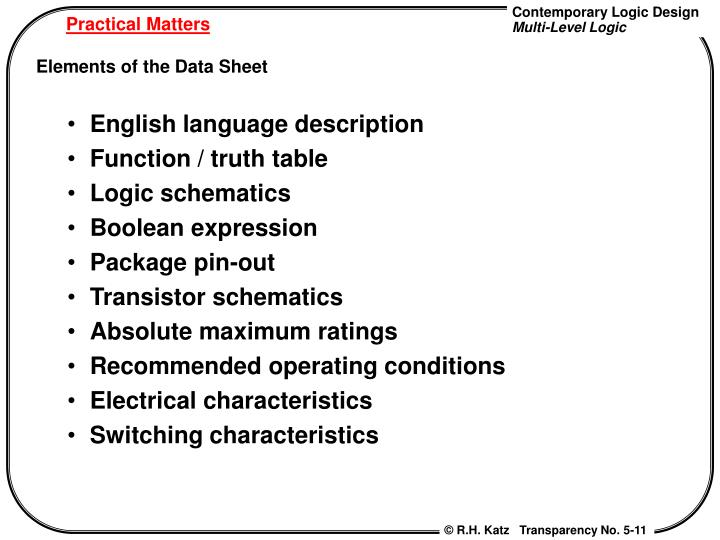 English language description