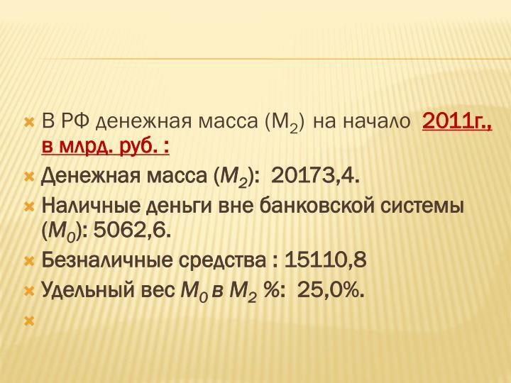 В РФ денежная масса
