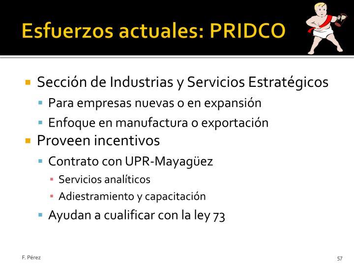 Esfuerzos actuales: PRIDCO