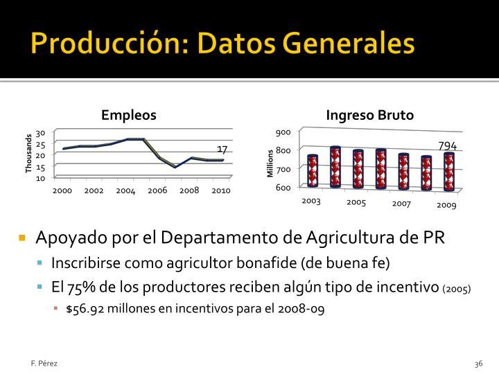 Producción: Datos Generales