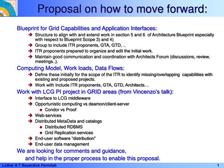 Proposal on how to move forward: