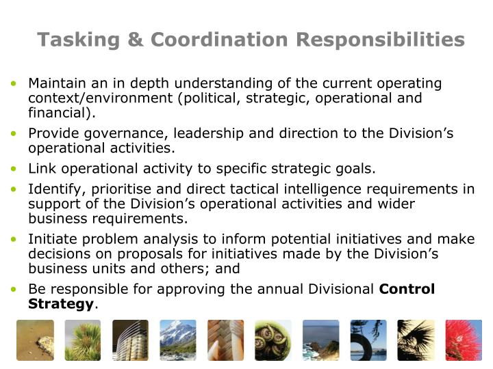 Tasking & Coordination Responsibilities