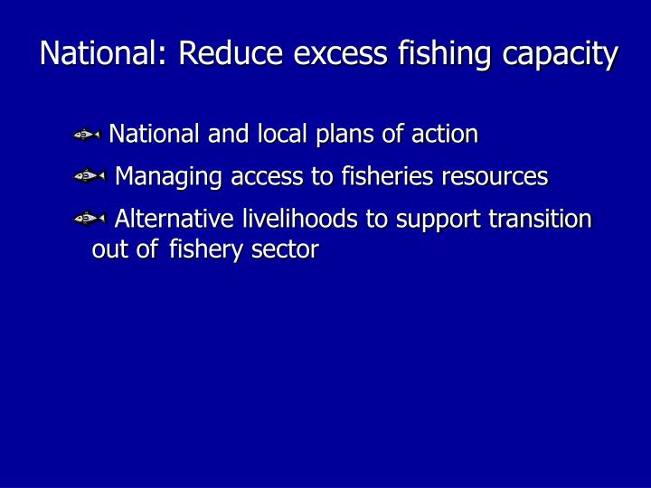National: Reduce excess fishing capacity