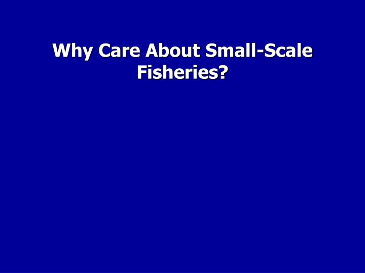 Why Care About Small-Scale Fisheries?