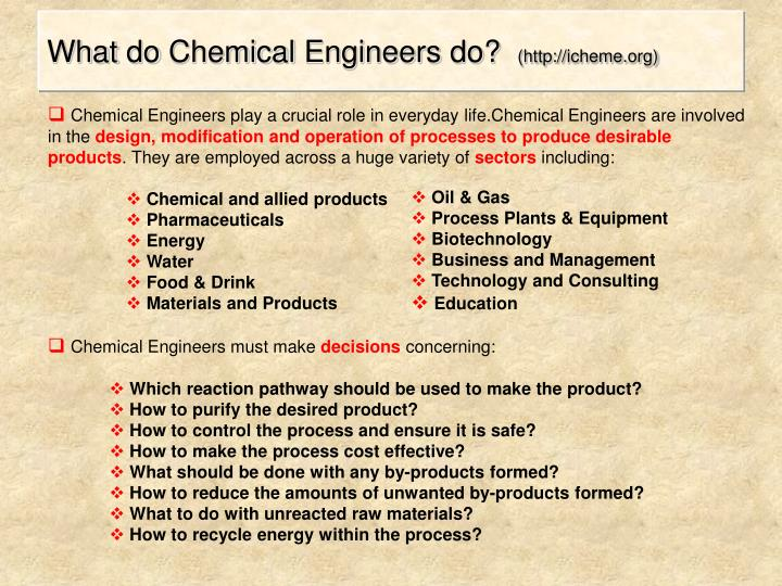Chemical Engineers play a crucial role in everyday life.Chemical Engineers are involved in the