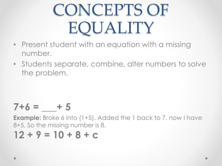 CONCEPTS OF EQUALITY