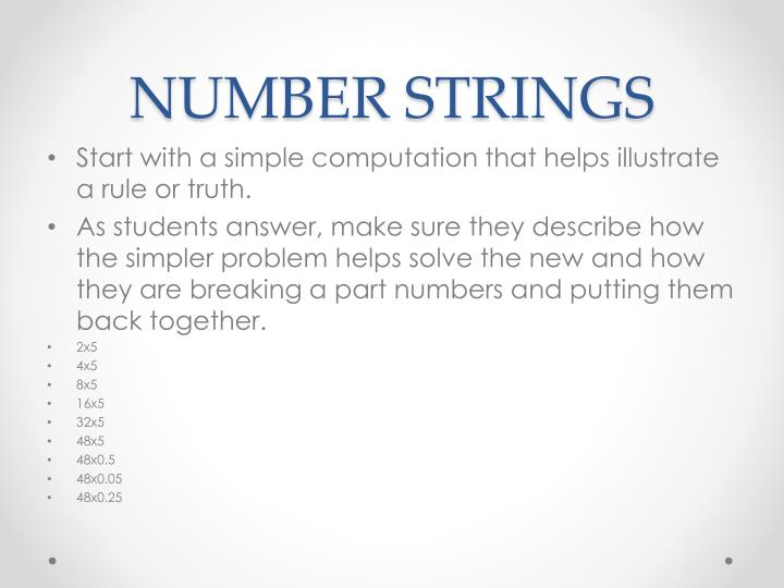 NUMBER STRINGS