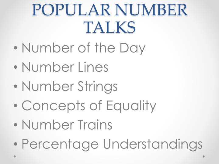 POPULAR NUMBER TALKS