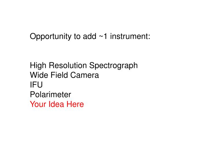 Opportunity to add ~1 instrument: