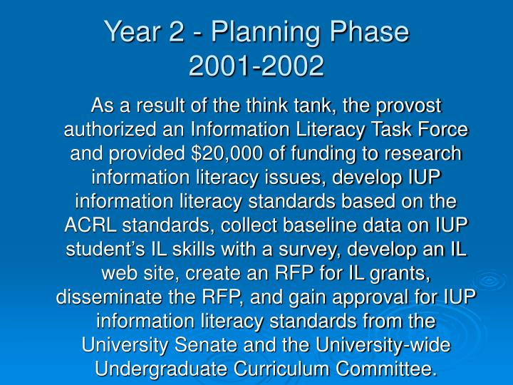 Year 2 - Planning Phase