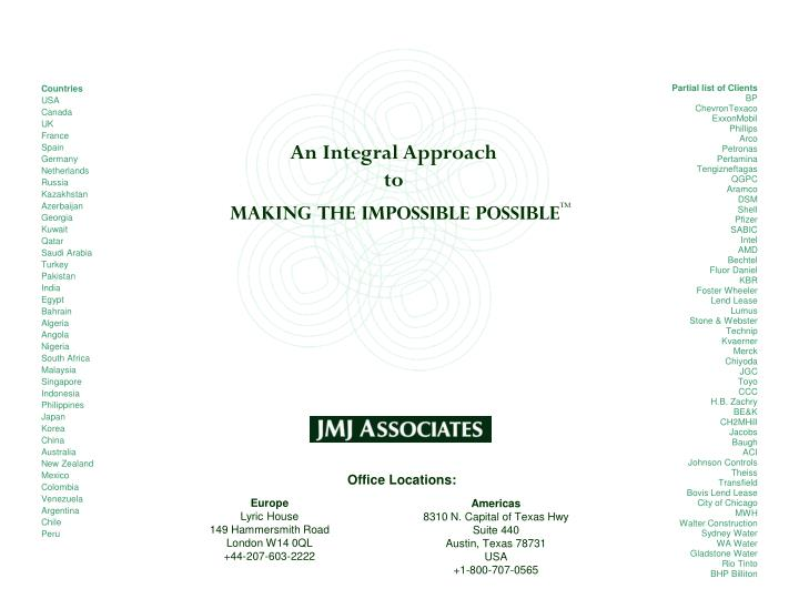 An Integral Approach to