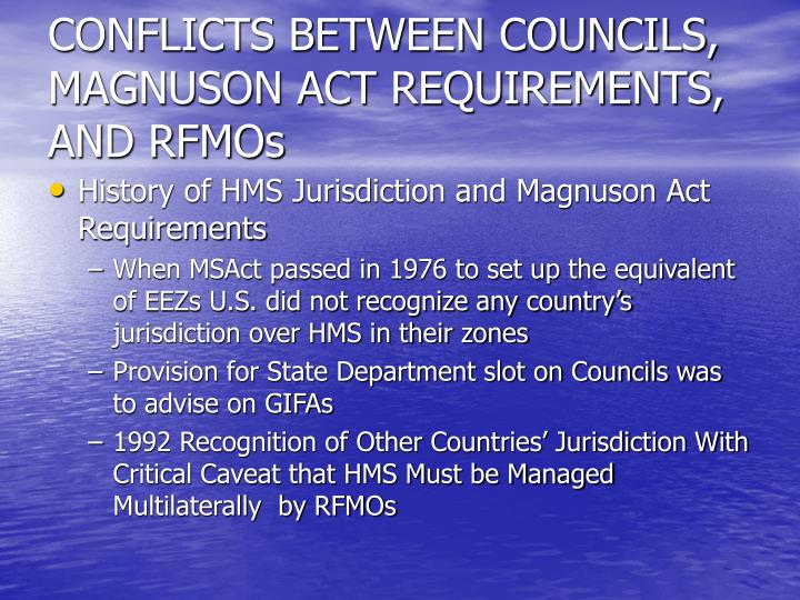 CONFLICTS BETWEEN COUNCILS, MAGNUSON ACT REQUIREMENTS, AND RFMOs