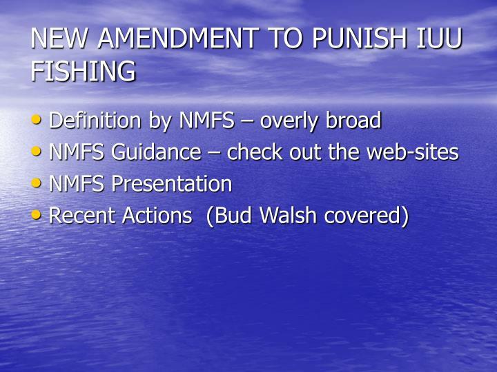 NEW AMENDMENT TO PUNISH IUU FISHING