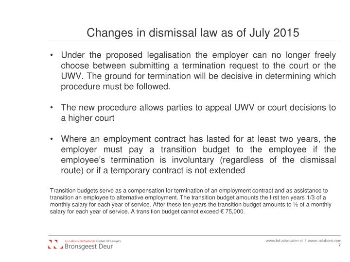 Changes in dismissal law as of July 2015