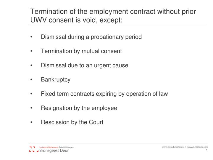 Termination of the employment contract without prior UWV consent is void, except:
