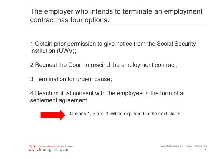 The employer who intends to terminate an employment contract has four options