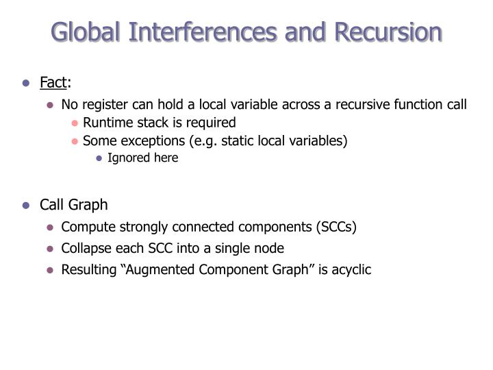 Global Interferences and Recursion