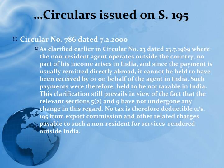 …Circulars issued on S. 195