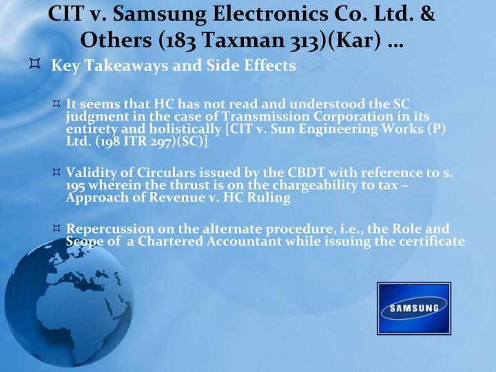 CIT v. Samsung Electronics Co. Ltd. & Others (183 Taxman 313)(Kar) …