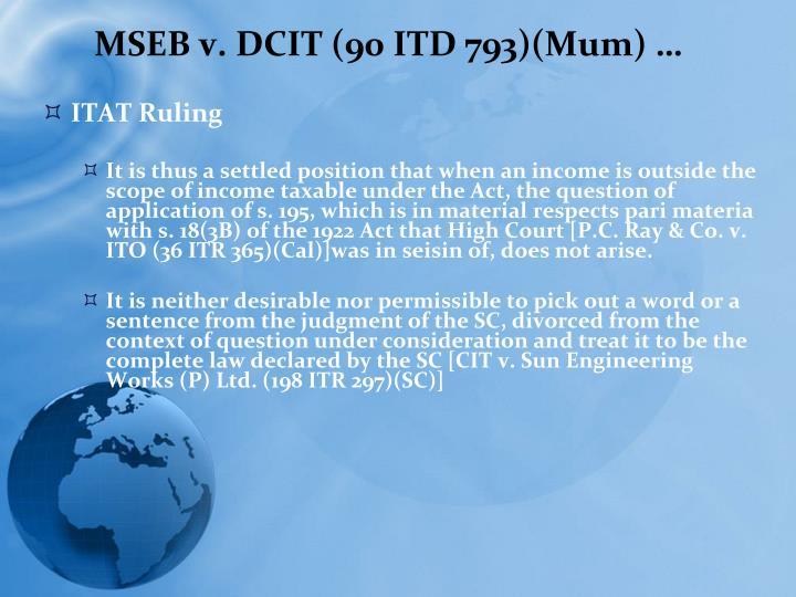 MSEB v. DCIT (90 ITD 793)(Mum) …