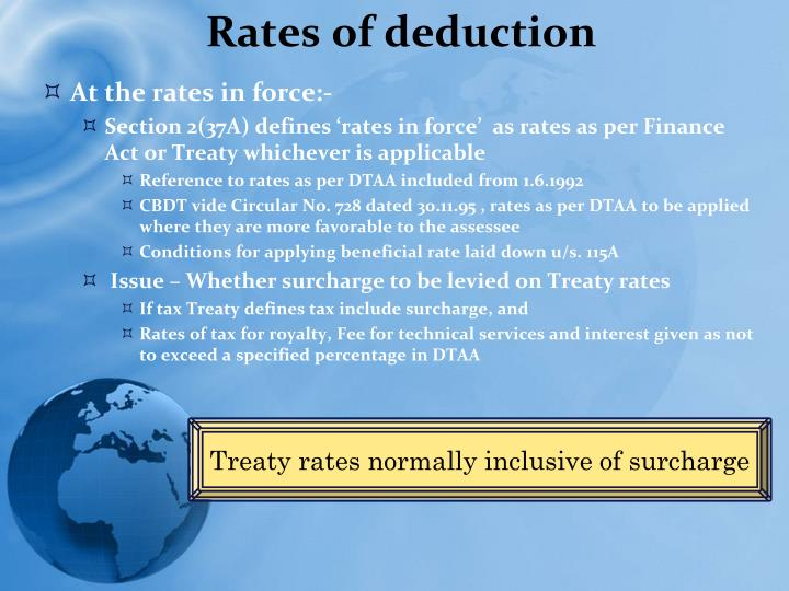 Rates of deduction
