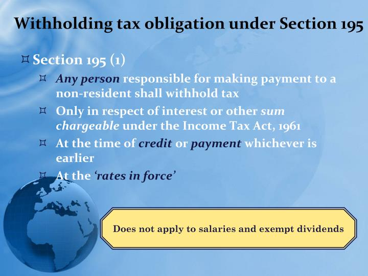 Withholding tax obligation under Section 195