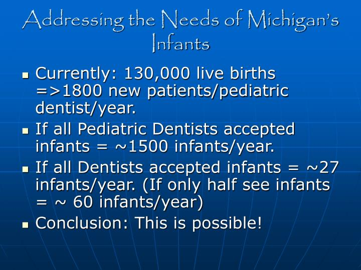 Addressing the Needs of Michigan's Infants