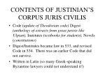 contents of justinian s corpus juris civilis