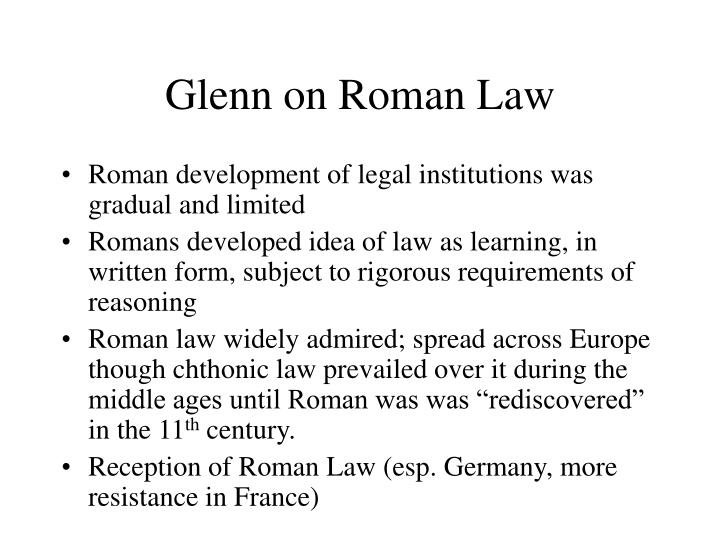 Glenn on Roman Law