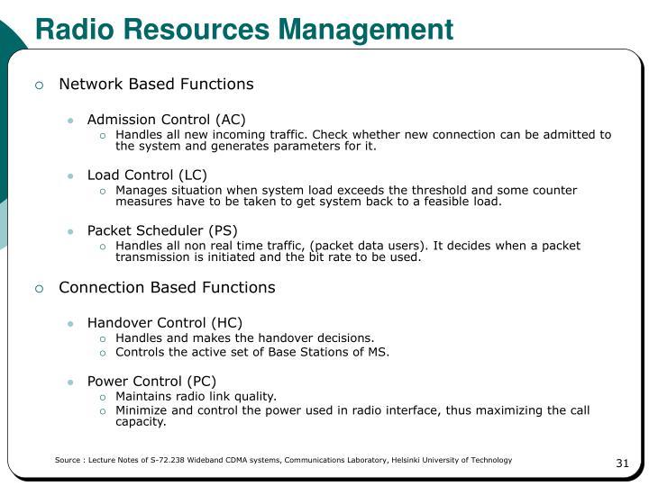 Radio Resources Management