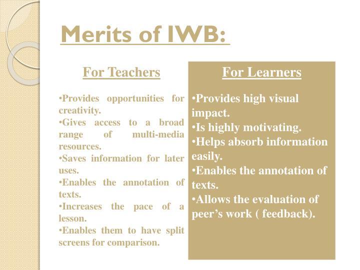 Merits of IWB: