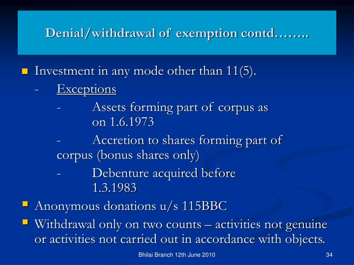 Denial/withdrawal of exemption contd……..