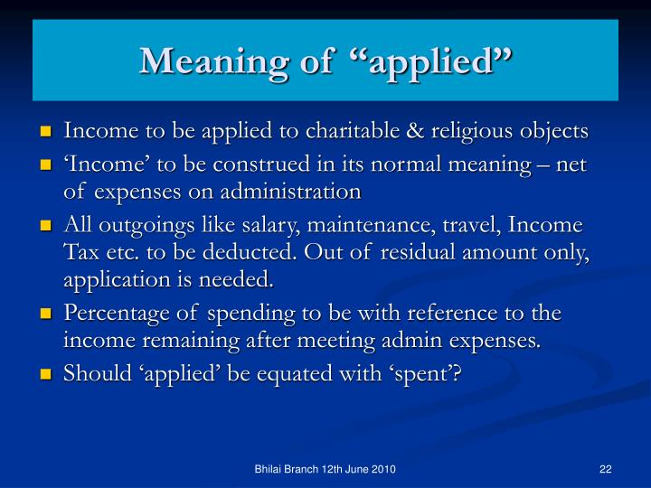 "Meaning of ""applied"""