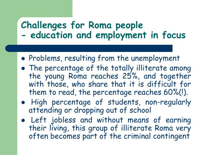 Challenges for Roma people