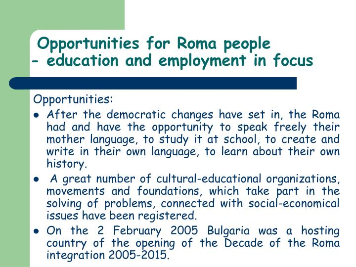 Opportunities for Roma people